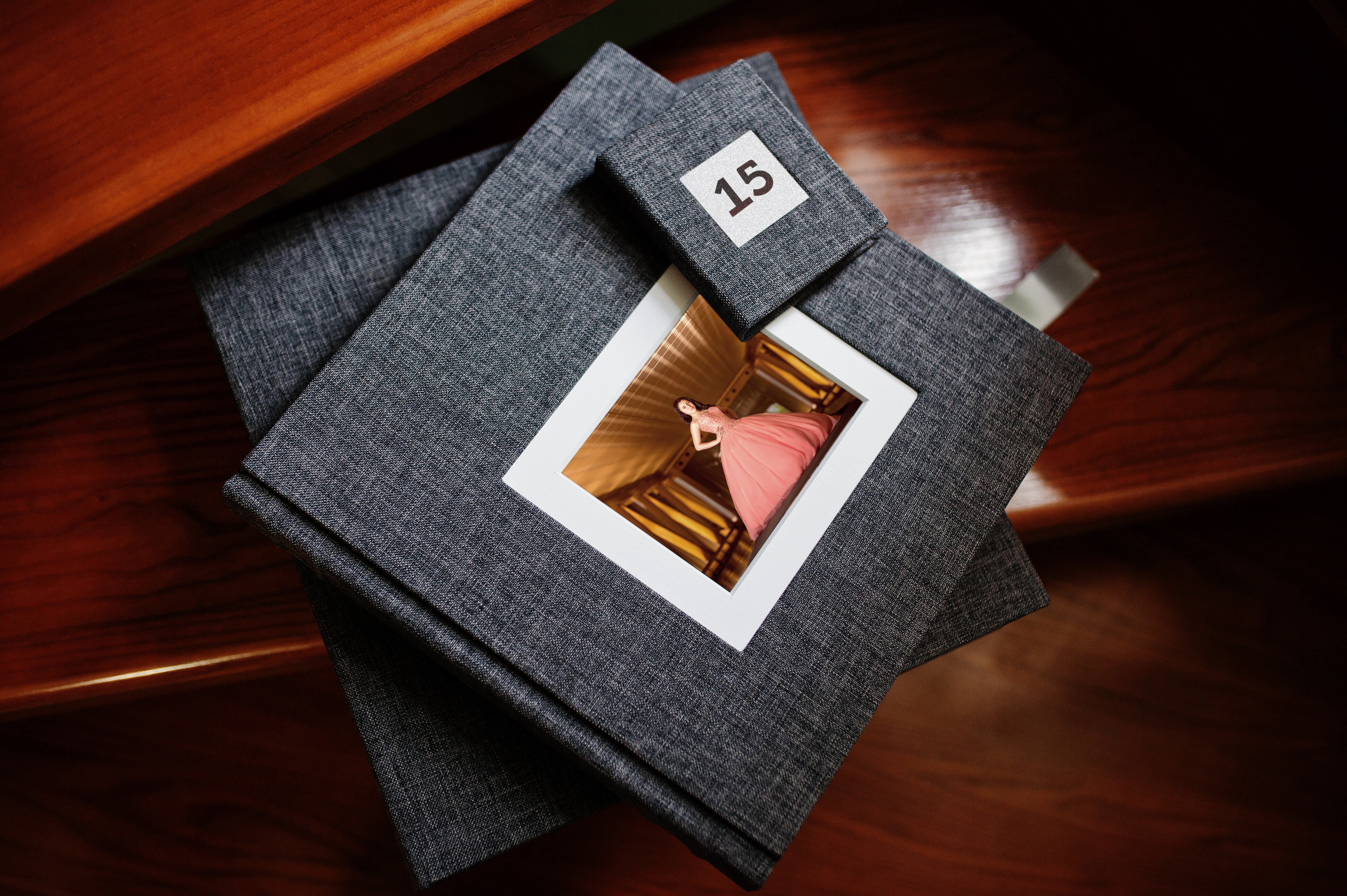 Elegant grey photo book or photo album and flash drive case on w